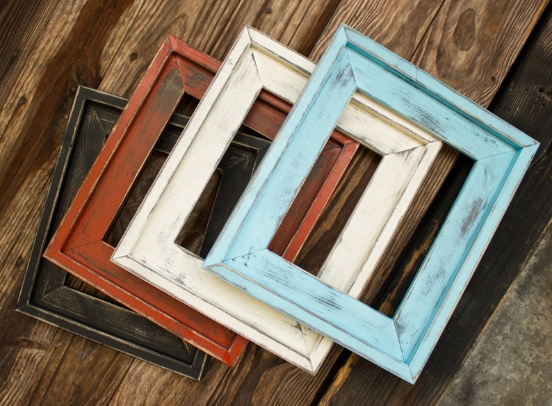 Farmhouse Distressed Frame Picture Frames Rustic Picture image 0