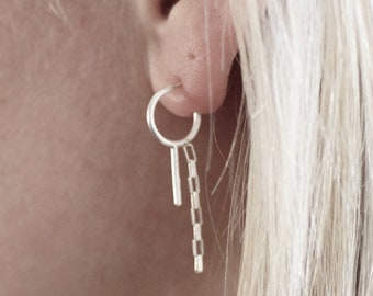 Small Hoop with Chain and Bar Accent - Sterling Silver