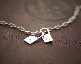Lock Initial Pendant Necklace - Sterling Silver