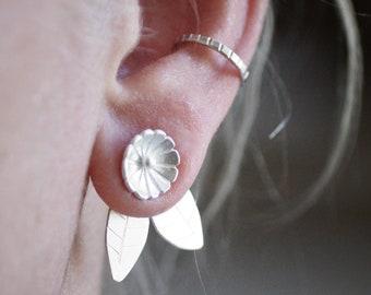 Flower and Leaf Ear Jacket - Sterling Silver
