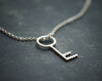 Key Pendant on Chain - Sterling Silver