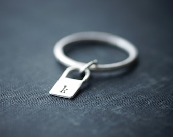 Lock Initial Dangle Ring - Sterling Silver