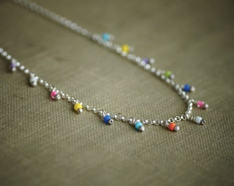 Delicate Beaded Chain Necklace - Colorful - Sterling Silver