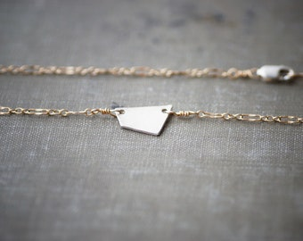 Small Geometric Necklace - Mixed Metals - Sterling and Gold