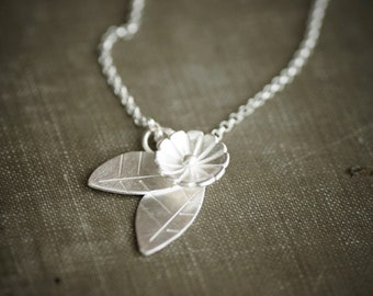Flower and Leaves on Chain Necklace - Sterling Silver