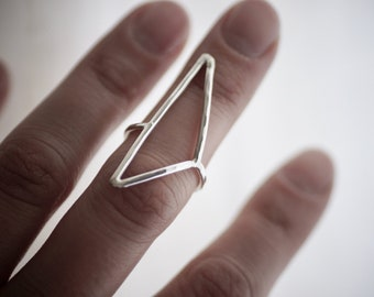 Triangle Ring - Sterling Silver - Statement Ring