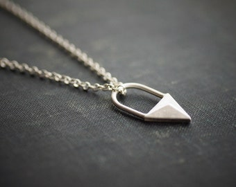 Triangle Pendant Necklace - Sterling Silver - Geometric