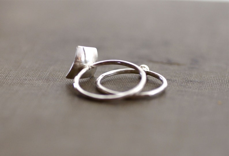 Sterling Silver Geometric Set of Two Stacking Rings