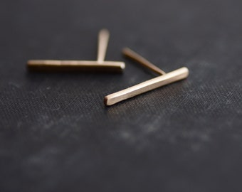 Bar Earrings - 14kt Gold Fill - Posts - Studs