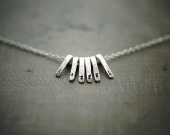 Stamped Bar Cluster Necklace - Sterling Silver - Custom Name or Word