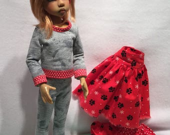 Red and Grey Exercise outfit for MSD BJD girls