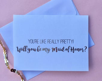 "Gold Foil ""Mean Girls"" Inspired Maid of Honor Card"