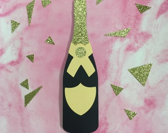 Peach Champagne Bottle Photo Prop