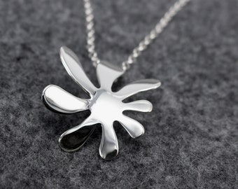 Anto Flower Pendant - High-Polished Silver, Sterling Silver pendant, silver pendant, silver necklace, mom's gift idea, wife's gift idea