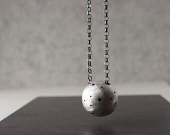 Luna Pendant - Matte Silver Sphere - Oxidized Silver Rolo Chain, Best Birthday Gift Idea for her, gift idea for mom, mother's day gift idea