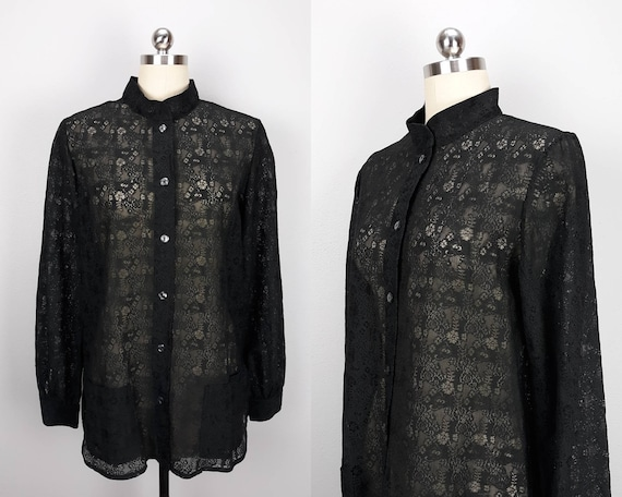 Vintage black lace button down tunic with front po