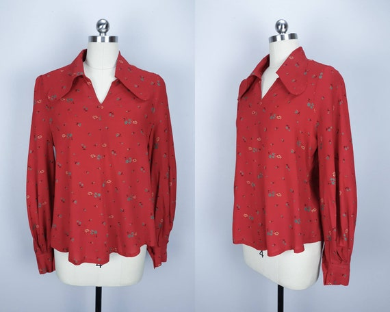 Vintage red mutton sleeve boho blouse with rounded