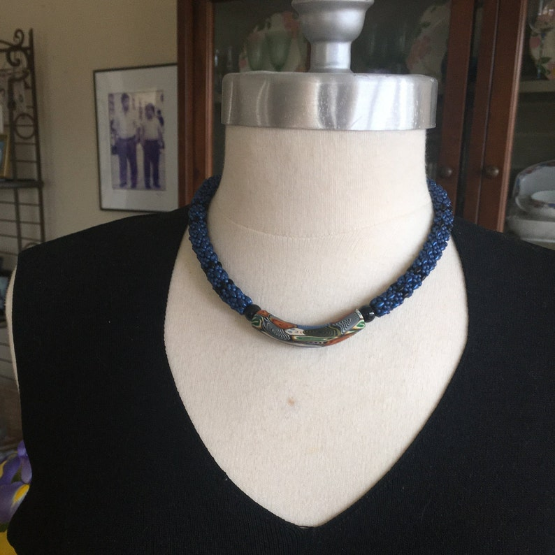 Beaded Clasp. Polymer Clay Bead Super Duos Choker Necklace Beaded Rope Ethnic Theme African Theme Royal Blue and Black Long Choker