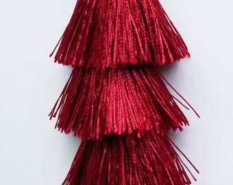 Premium Large Red Pendant Tassels 1 Per Order 80MM Dark Red Polyester Tassels Pendant With Silver Alloy Tibetan Cap Finding