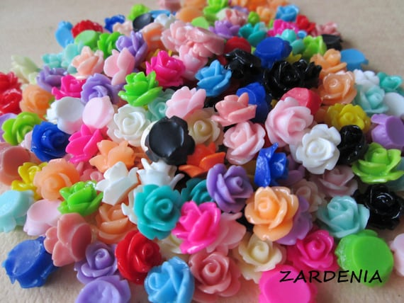 Mini Roses - 300 Pieces - Random Color Mix - Crafting and Jewelry Supplies by ZARDENIA
