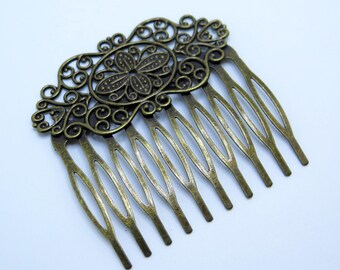 Filigree Hair Comb, Comb Blank, Hair Accessory, Wedding Hair Comb, Diy Hair Combs, Antique Brass Hair Comb, 1 pc, Zardenia