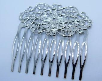 Filigree Hair Comb, Comb Blank, Hair Accessory, Wedding Hair Comb, Diy Hair Combs, Dark Silver Toned Brass Hair Comb, 1 pc, Zardenia