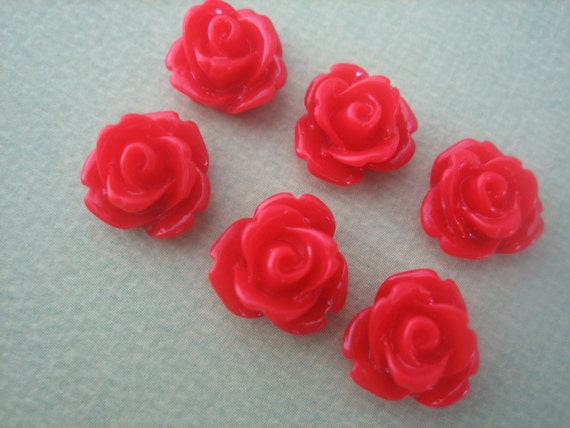 20 x 10mm Red Resin Flat Back Flower Cabochons Rose