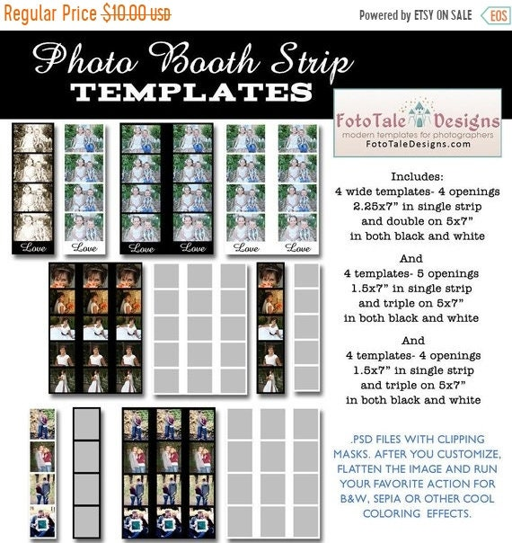 SALE INSTANT DOWNLOAD Photo Booth Strip Template Set