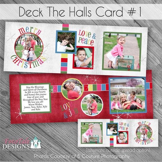 Deck The Halls 1 Tri Fold Christmas Card Custom Holiday