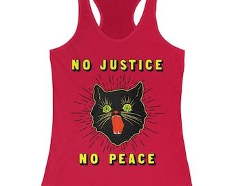 Retro Black Cat No Justice No Peace Tank Top - Black Lives Matter Tank Top - Fuck the Police Shirt