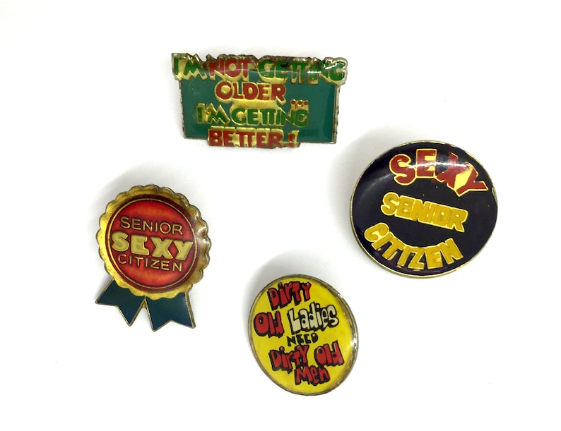 Vintage Funny Sexy Senior Citizen Enamel Pins - Pinback - 70s - 80s -  Novelty - Old - Naughty - Dirty old man