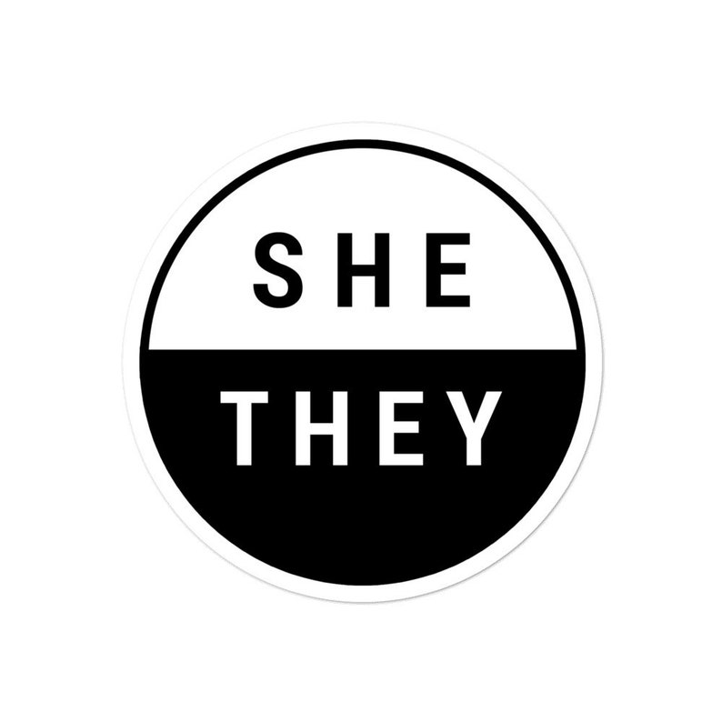 She They Pronouns Stickers  Gender Stickers  Non-Binary image 0