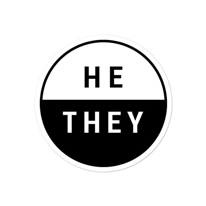 He They Pronouns Stickers  Genderqueer  Non-Binary image 0