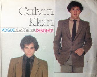 Vintage Vogue American Designer Sewing Pattern Calvin Klein Men's Jacket Loose Fit Single or Double Breasted 1970's - 80's Size 36 Uncut