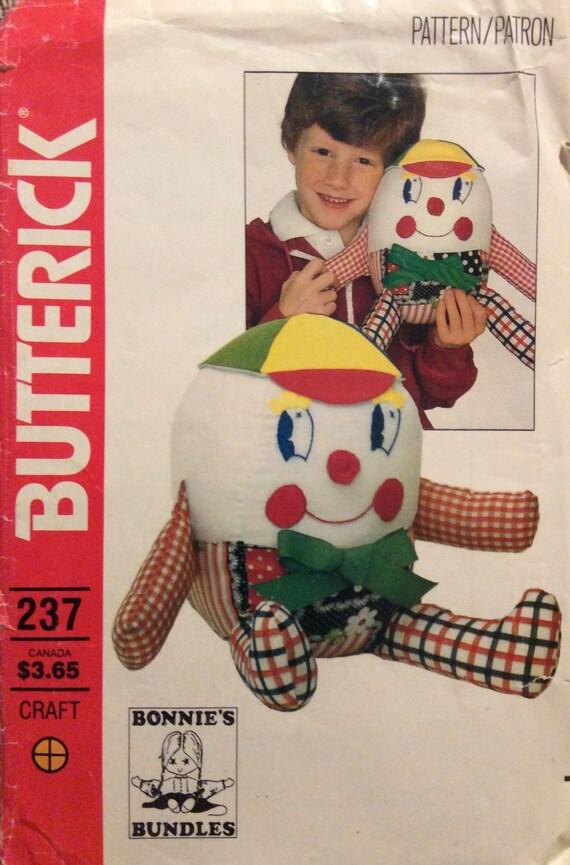 Vintage Sewing Pattern Humpty Dumpty Stuffed Toy 1980s Bonnie\'s ...