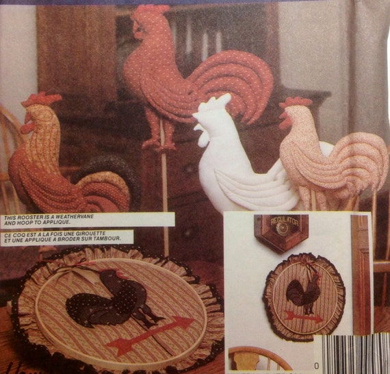 Vintage Sewing Pattern Stuffed Decorative Roosters Uncut Chicken Decor 1983 Applique Hoop