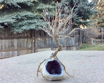 Wire tree /  geode coffee table art. Wire sculpture. Art nouveau/woodland gift