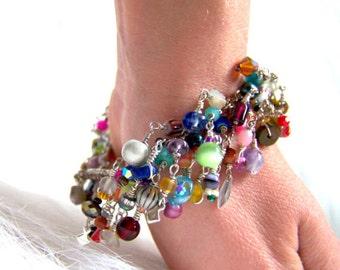 UniqueNecks bracelet. layered. rainbow. gemstones. multicolored chain bracelet.  birthday gift