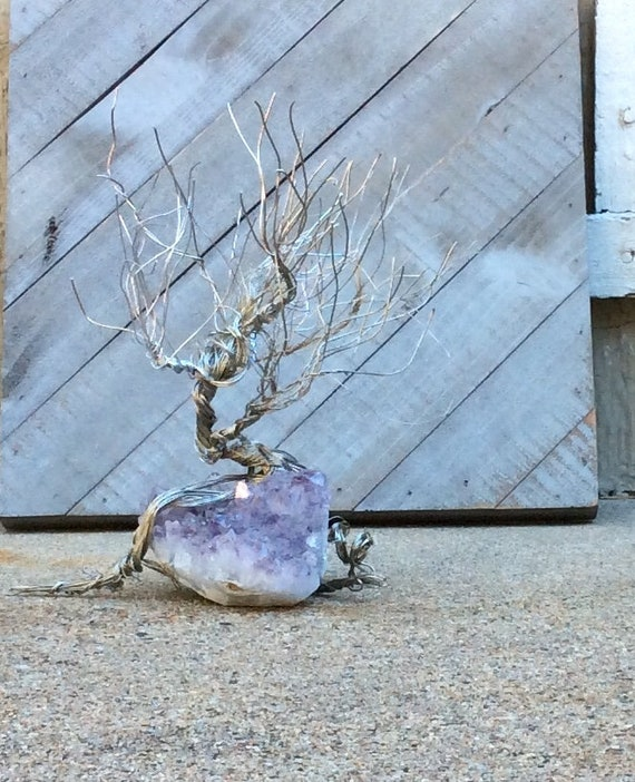 Wondrous Amethyst Geode Crystal Wire Tree Upcycled Rock Coffee Table Art Wire Sculpture Art Nouveau Woodland T Home Interior And Landscaping Ferensignezvosmurscom