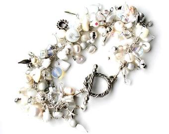 white wire wrapped bracelet. beaded fringe charm bracelet white silver beads charms swarovski jewelry