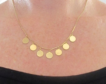 Gold Disc Necklace, statement necklace, gold coin necklace