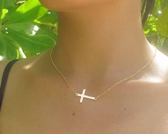 Long Skinny Gold Sideways Cross Necklace, 18k Gold sideways cross necklace, rose gold and sterling silver available