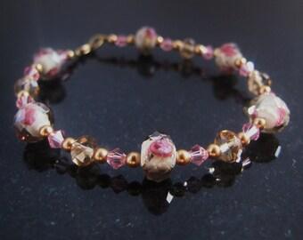 Pink and Gold Crystal Flower Bracelet, one of a kind, pastel spring fashion