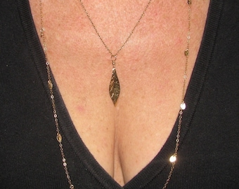 Gold Filled Leaf Necklace- If you like Courtney's on Cougar Town you'll love this
