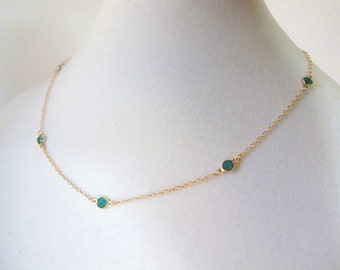 Gold Birthstone Choker-Emerald Crystals on Gold-May Birthstone-many colors available, birthstone jewelry