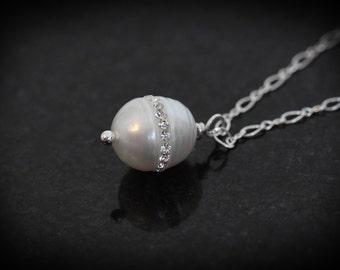 Swarovski Pearl and Crystal Necklace,  White Pearl Necklace, birthday gift, bridesmaid, single pearl pendant