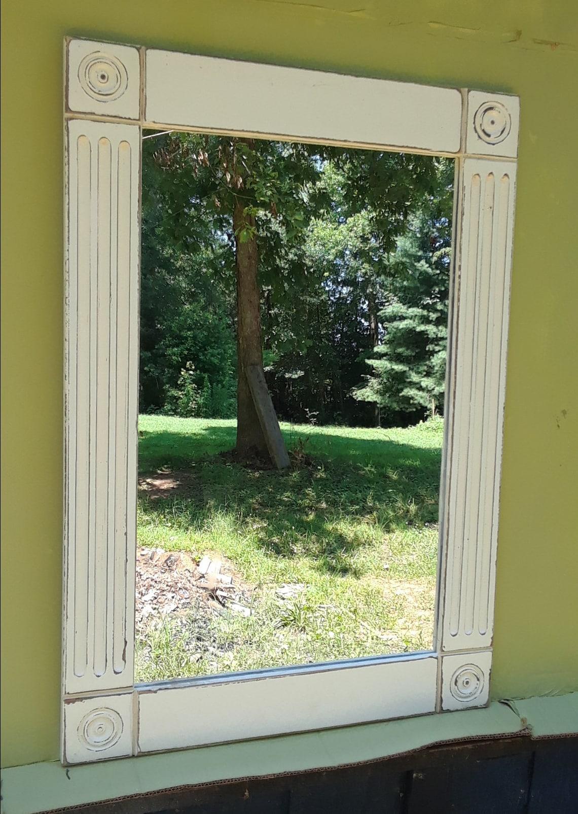 bathroom mirror   , vanity  mirror  ,  french country  mirror ,  cottage cream distressed  finish