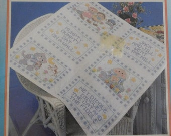 Pair of Bucilla ready to embroider needlework kit of two samplers nursery never opened Baa Baa Black Sheep and Little Bo-Peep