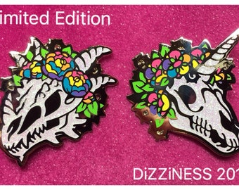 HoloTASTIC // Mythical Skulls & Flowers pin 1.75 inch   hard enamel pin  