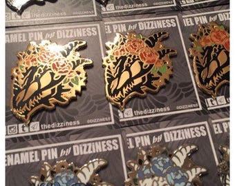 Mythical Skulls & Flowers pin 1.75 inch   hard enamel pin  